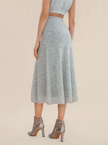 Женская юбка светло-серого цвета из мохера - фото 5