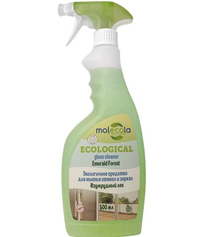 Экологичное средство для мытья стекол и зеркал Изумрудный Лес Molecola, 500мл