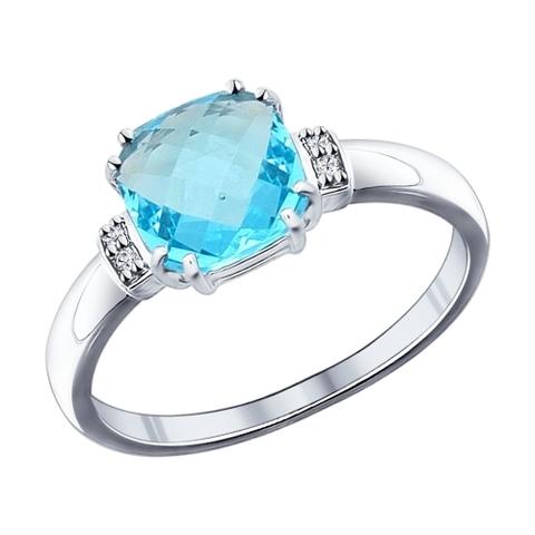 94011723 -Кольцо из серебра с голубой стеклянной вставкой от  SOKOLOV