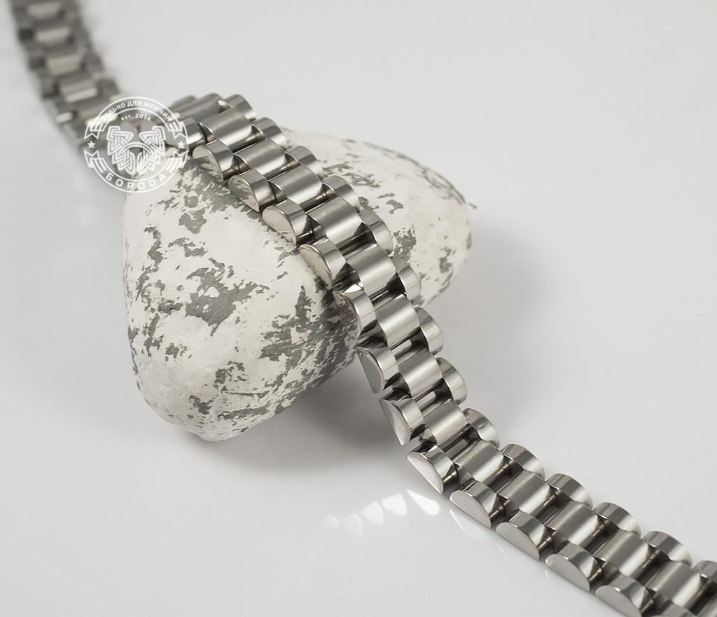 BM341 Стильный, тяжелый браслет из ювелирной стали на удобной застежке (21 см)