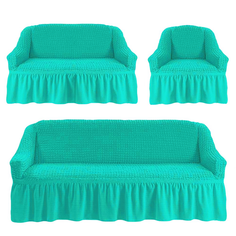Чехлы на трехместный диван и двухместный диван + кресло,бирюзовый