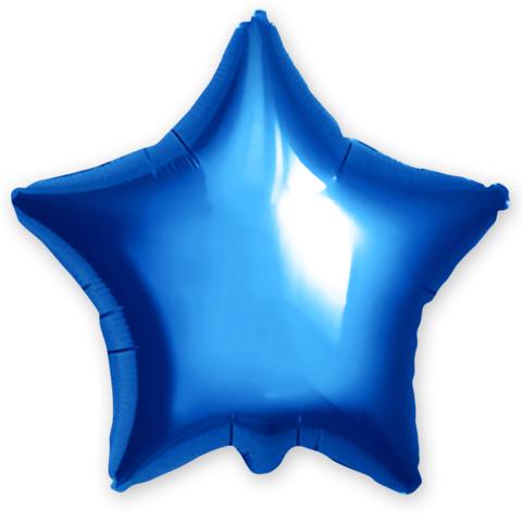 Фольгированный шар звезда, металлик синий