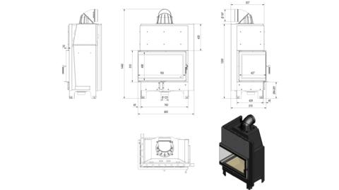 Каминная топкаKratki MBO/L/BS/SG (гнутое стекло) (15 кВт)