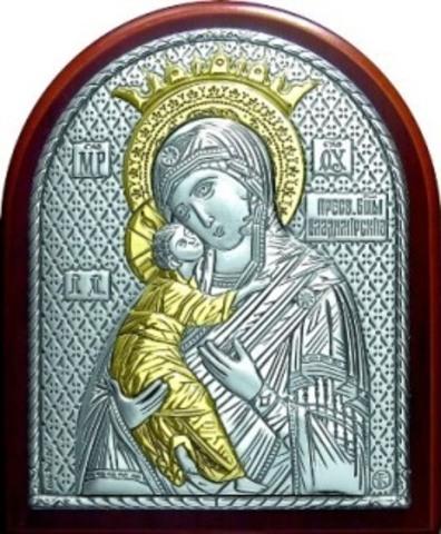 Серебряная с золочением икона Божией Матери Владимирская 8,5х7см