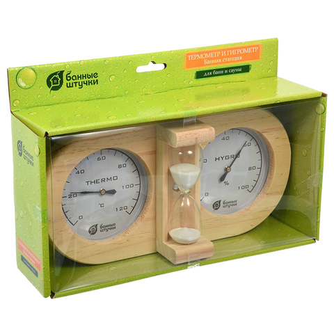 Термометр с гигрометром Банная станция с песочными часами 27х138х75см для бани и сауны