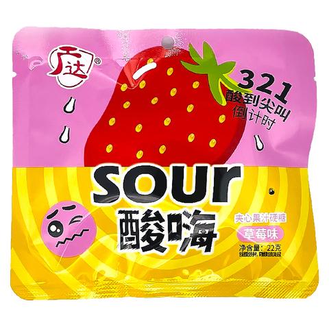 Конфеты кислые Sour со вкусом клубники 22 гр