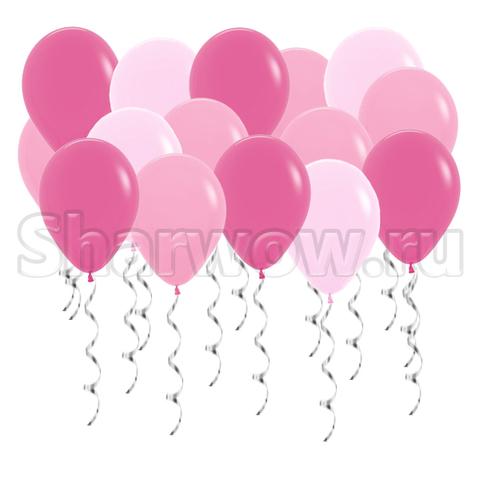 Воздушные шары под потолок Ярко-розовые ассорти