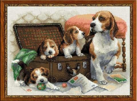 Набор для вышивания крестом «Собачье семейство» (1328)