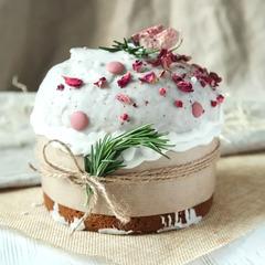 Кулич «Царский» на закваске с инжиром и малиной / 300 гр