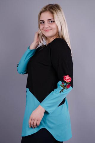 Аника цветок. Красивая кофточка больших размеров для женщин. Бирюза.