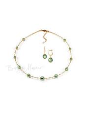 Комплект Примавера изумрудный (серьги на серебре, ожерелье)