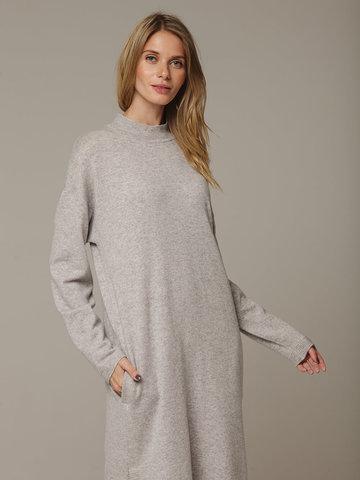 Женское серое платье с разрезами из шерсти и кашемира - фото 2