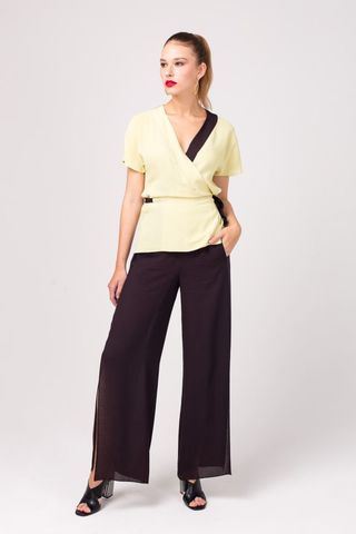 Фото блуза-кимоно с контрастными завязками и окантовкой - Блуза Г670-357 (1)