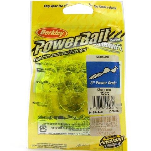 Приманка силиконовая Berkley Powerbait Power Grub MPG3-CH Chartreuse 3