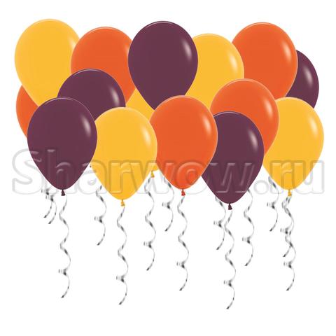 Воздушные шары под потолок Осеннее ассорти - золотисто-желтые, оранжевые шары и шары бургунди