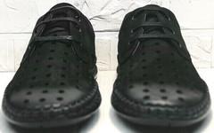 Черные мокасины мужские туфли с перфорацией стиль casual Luciano Bellini 91754-S-315 All Black.