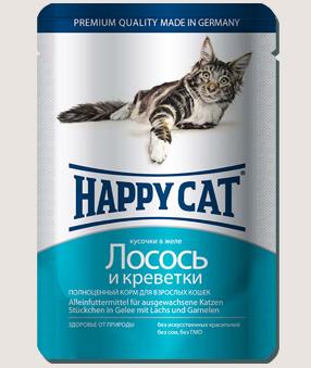 Влажные корма Пауч для кошек Happy Cat лосось и креветки в желе 9k_-7.jpg