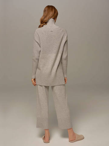 Женские брюки светло-серого цвета из шерсти и кашемира - фото 3