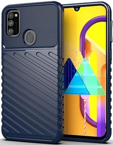 Противоударный чехол на телефон Samsung Galaxy M21, синий цвет, серия Onyx от Caseport