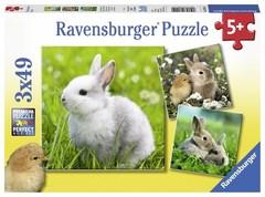 Puzzle Niedliche Häschen 3x49 pcs