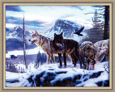 Алмазная Мозаика 40x50 Стая волков в зимнем лесу (арт. ТС3348)