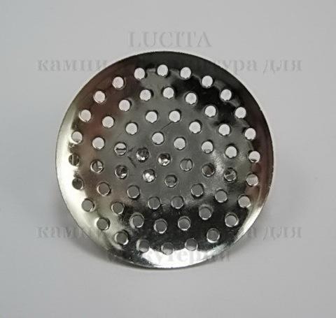 Основа для броши с площадкой  27 мм (цвет - платина) ()