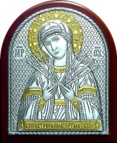 Серебряная с золочением икона Божией Матери Семистрельная 8,5х7см