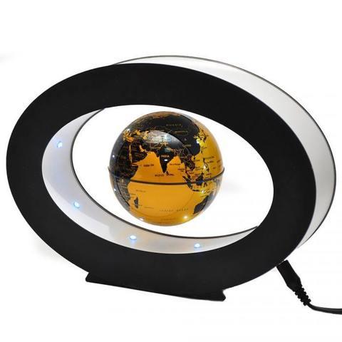 Левитирующий глобус в овальной раме (черный)