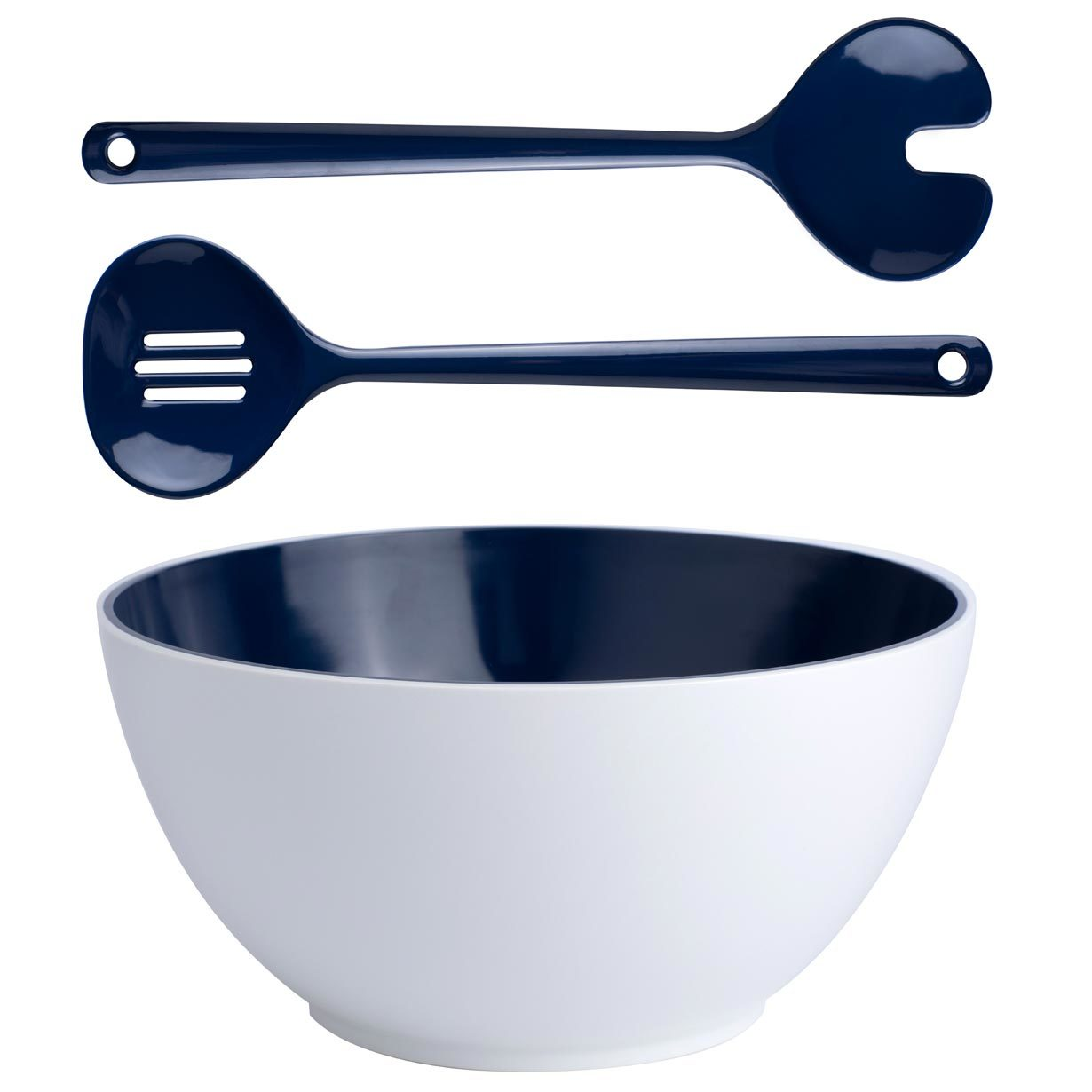Set of melamine salad bowl with cutlery, Summer collection, Blue
