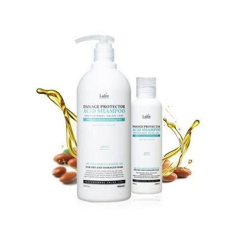 Профессиональный бесщелочной шампунь с коллагеном и аргановым маслом для сухих и поврежденных волос Lador Damaged Protector Acid Shampoo