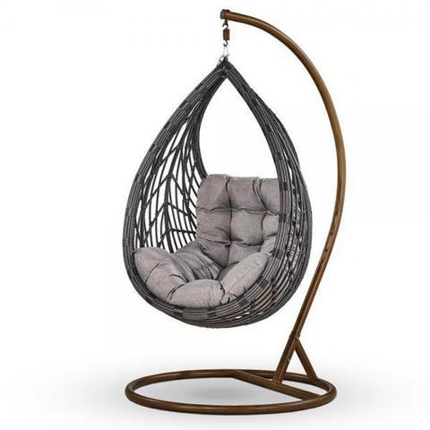 Подвесное кресло из искусственного ротанга N886-W72 Dark Grey/Grey