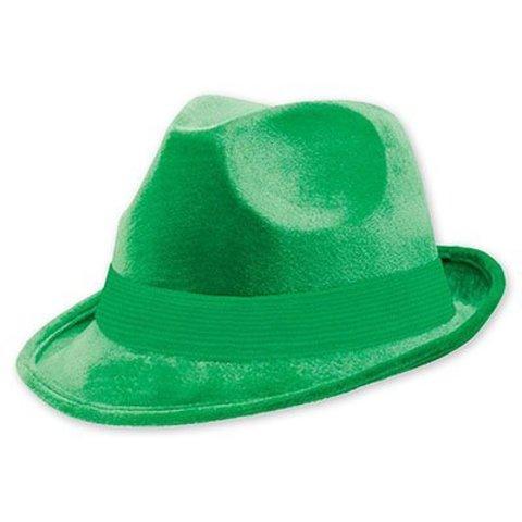 Шляпа-федора велюр зеленая/A