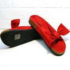 Модные женские сандали шлепанцы на плоской подошве Comer SAR-15 Red.