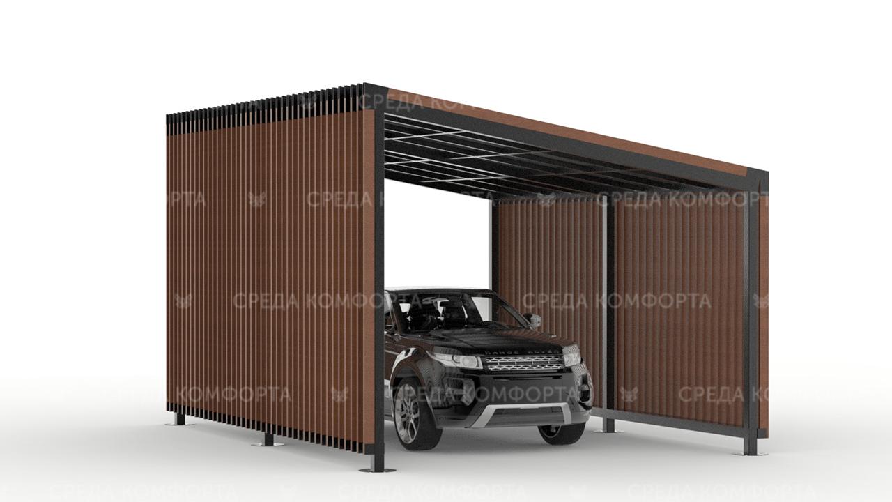 Навес для автомобиля ( с крышей из поликарбоната, профлиста или металлочерепицы) AVNVS0007