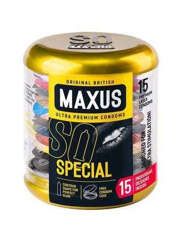 Презервативы с точками и рёбрами в металлическом кейсе MAXUS Special - 15 шт.