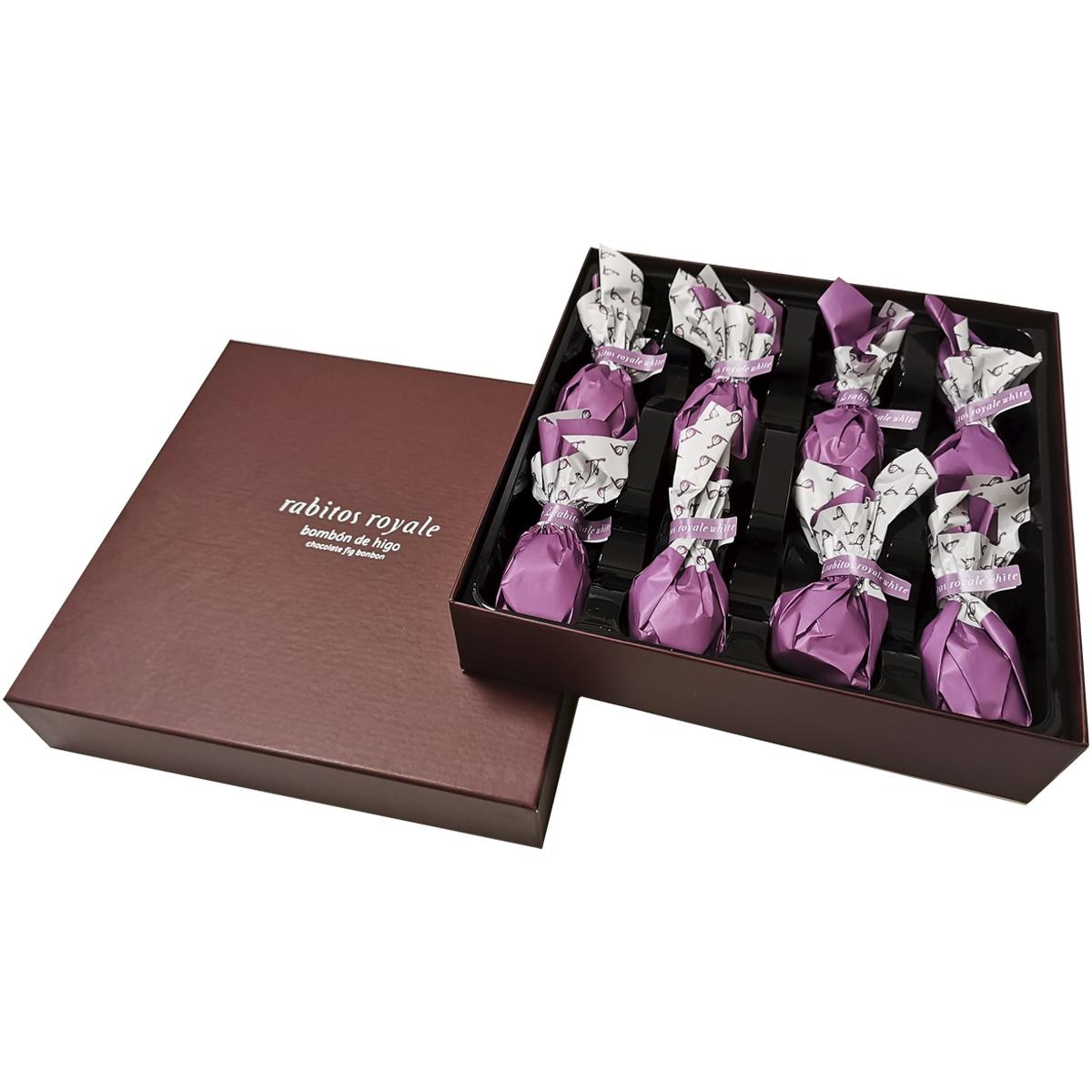 Конфеты Инжир в белом шоколаде с трюфельной начинкой и клубникой Rabitos 142г  8 конфет