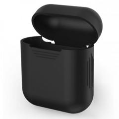 Чехол на airpods силиконовый (черный)