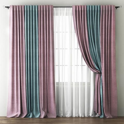 Комплект штор с подхватами Карин розовый-голубой