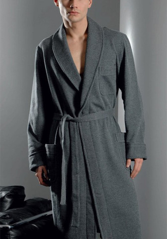 Мужской серый халат из утепленной ткани