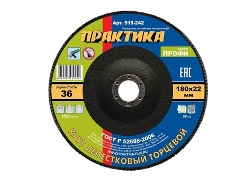 Круг лепестковый шлифовальный ПРАКТИКА 180 х 22 мм Р36 (1шт.) серия Профи (919-242)