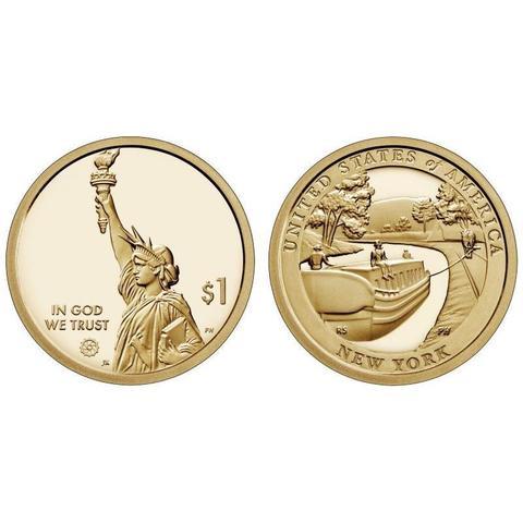 1 доллар 2021 Нью-Йорк, Канал Эри, Американские Инновации США  двор P