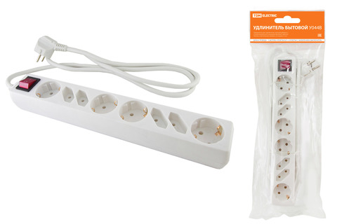 Удлинитель бытовой  У044В, выключатель, 4 б/з+4 с/з, 5метров, ПВС 3х1,5мм2  16А/250В TDM