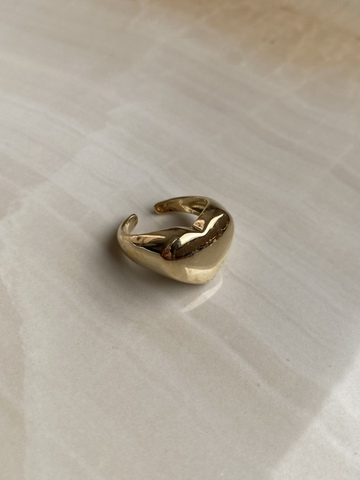 Кольцо Сердце, позолота