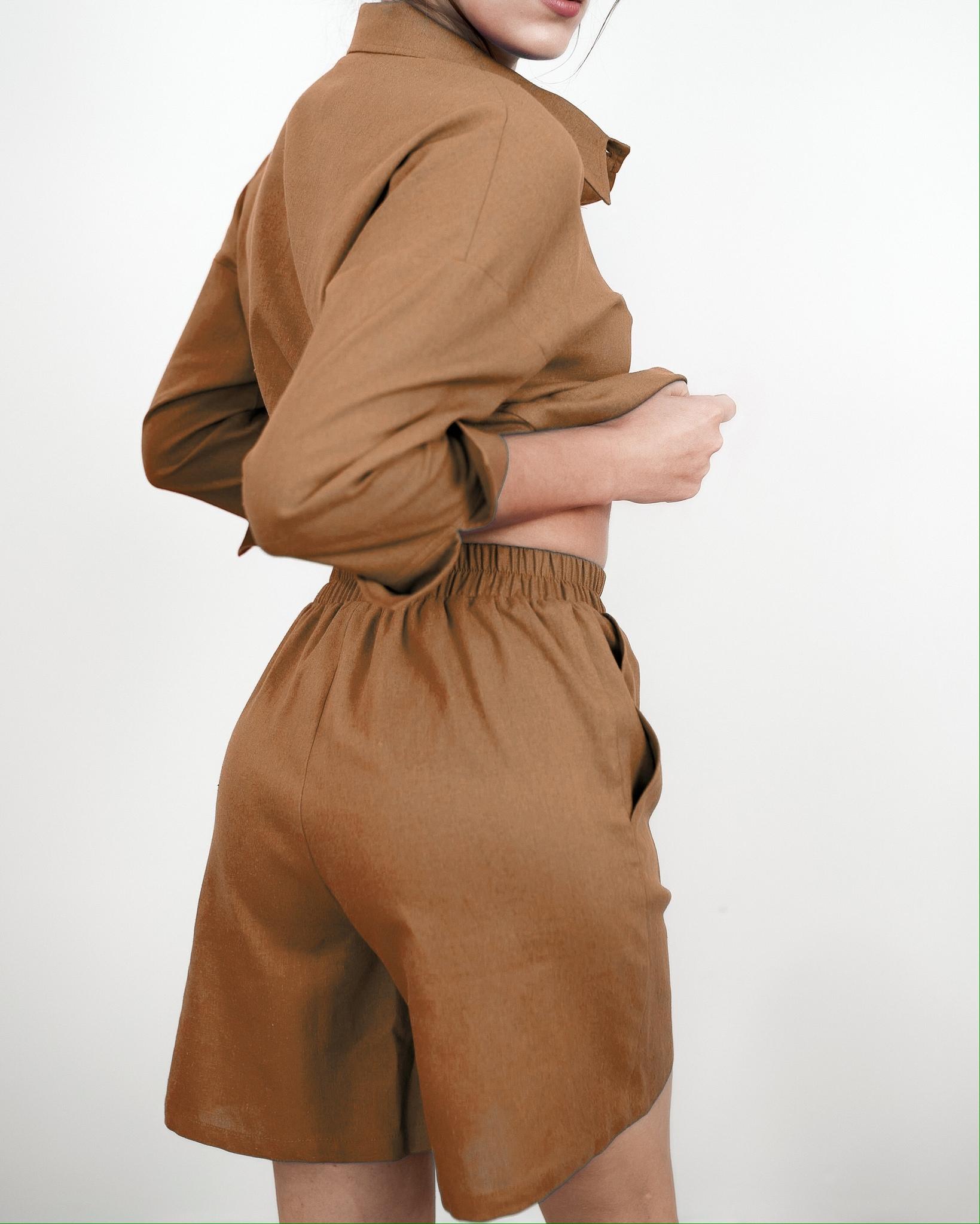 Льняные шорты Шоколад