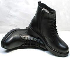 Стильные осенние ботинки на шнуровке женские Misss Roy 252-01 Black Leather.