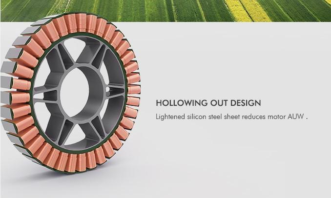 Использование облегчённой кремнистой электротехнической стали обеспечивает меньший стартовый взлётный вес