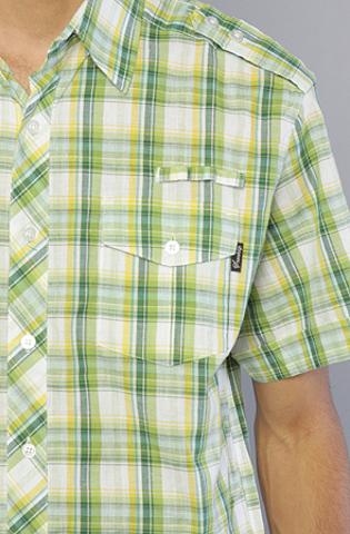 Рубашка зеленая в клетку фото вблизи