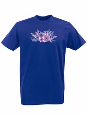Футболка с принтом Цветы (Пионы) синяя 001