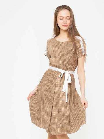 Фото бежевое расклешенное платье в мелкий горошек с кружевом - Платье З178-592 (1)
