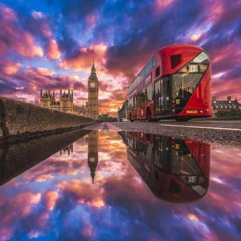 Картина раскраска по номерам 50x65 Лондон и его отражение (арт. RA3547)